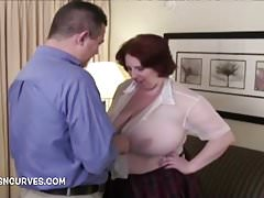 The secretary has big jugs and needs fucking