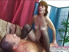 Old lady Ivet riding younger big cock fucking having a nice ride taking this young container