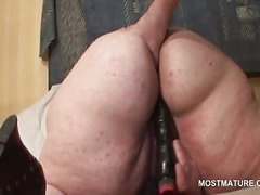 Mature BBW pussy fucked with well-known dildo