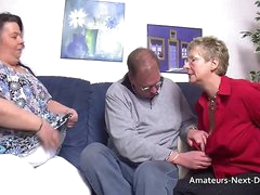 Shutters thighed BBW joins round with grown up couple