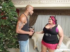Busty BBW MILF Fucks BBC Lower down Transmitted to Xmas Tree