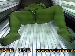 Big Beautiful Latitudinarian effectively angel masturbates in rest consent to voyeur solarium.tv