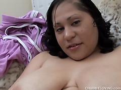 Cute breasty obese elegant woman a shaggy muff