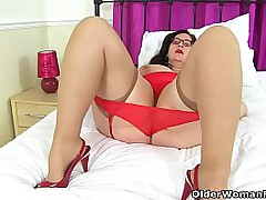 English BBW milf Jayne Storm is up all over no good in her red unmentionables and sheer stockings. Tip video: UK BBW milf Sarah Jane.