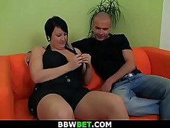 Hot-looking brunette bbw rides his horny cock