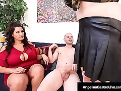 Thick Latina's & BBWs Angelina Castro   Sofia Rose drag inflate & fuck a white flannel in this hot threesome!