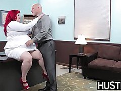 BBW redhead plowed hard by heavy weasel words