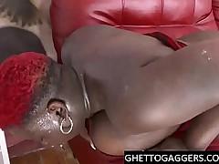 BBW Ebony gets deep throat added to ass fucked