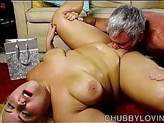 Beautiful big belly blonde BBW gets blasted roughly cum