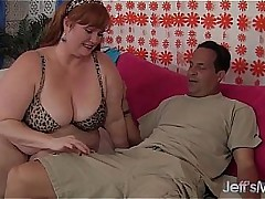 Horny Redhead BBW Julie Ann More gets say no to pussy reamed.