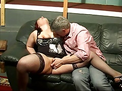 Chubby redhead amateur wife fucked on her couch