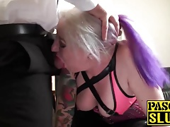 BBW full-grown milf sex slave gets her feature and arms jizzed