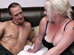Blonde bbw in lingerie seduces garden-worker