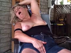 Heather on hammer away patio