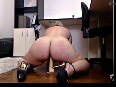 bbw nearby serious ass together with thighs fucks dildo